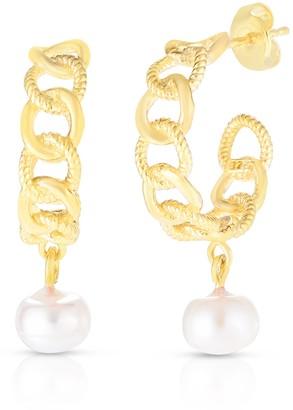 Sphera Milano 14K Gold Vermeil Chain Hoop Freshwater Pearl Drop Earrings
