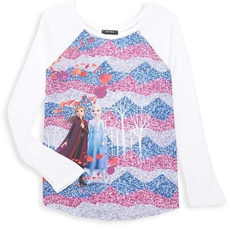 Terez Disney's Frozen 2 Little Girl's & Girl's Enchanted Forest Sparkle Baseball Tee