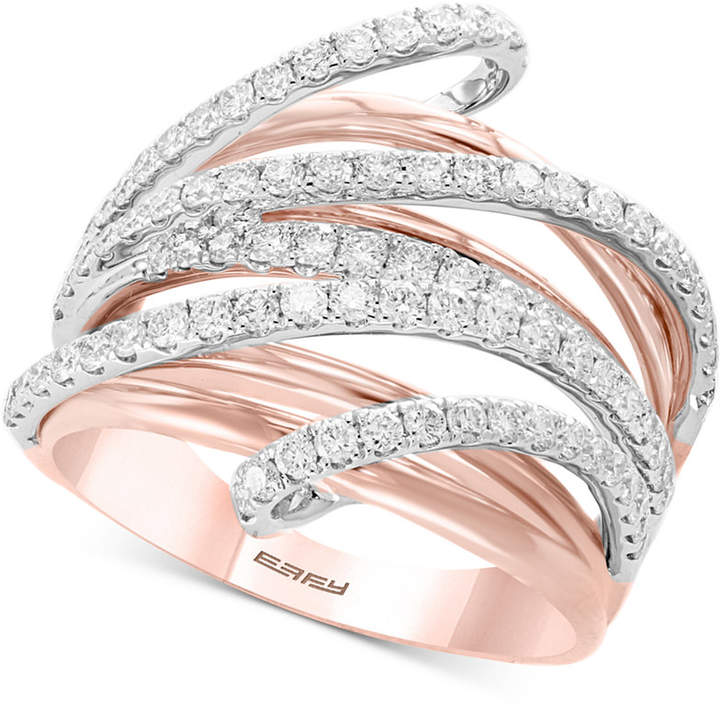 Effy Pave Rose by Diamond Multi-Row Ring (1-1/8 ct. t.w.) in 14k Rose & White Gold