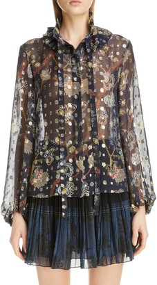 Chloé Floral Tie Neck Bishop Sleeve Silk Chiffon Blouse