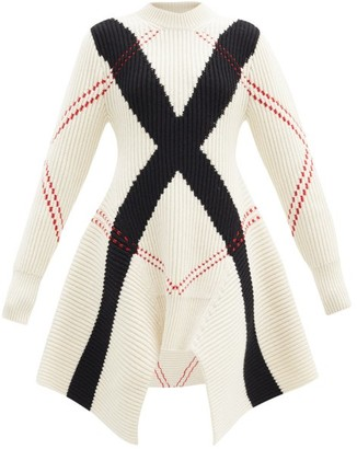 Alexander McQueen Argyle-knit Wool-blend Mini Dress - White Multi