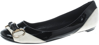 Gucci Black/White Patent Leather and Suede Bamboo Horsebit Ballet Flats Size 38