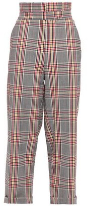 Paper London Cropped Checked Woven Straight-leg Pants