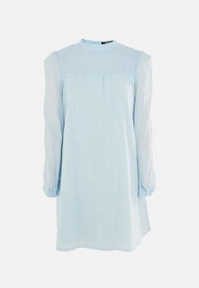 Missguided Tall Blue Broderie Anglaise Smock Dress