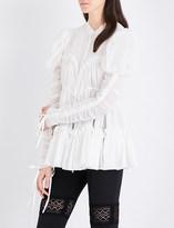 Alexander McQueen Puff-shoulder cotton and silk-blend gauze shirt