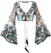 Roberto Cavalli floral lace front flared sleeve crop top - women - Silk/Polyester/Viscose - 40