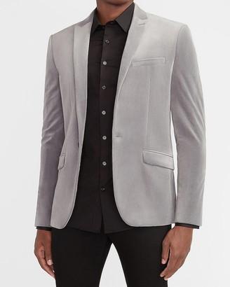 Express Slim Solid Gray Velvet Tuxedo Jacket