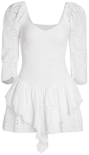 Thumbnail for your product : LoveShackFancy Cedria Puff-Sleeve Ruffle Mini Dress