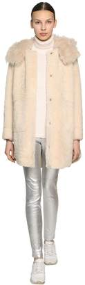 Yves Salomon Hooded Merinillo Shearling Parka Coat