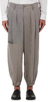 Yohji Yamamoto Men's Linen Drop-Rise Pants-GREY