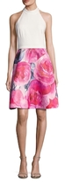 Theia T Back Printed Skirt Flared Dress