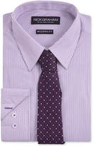 Nick Graham Men's Fitted Purple Dress Shirt Stripe With Grib Tie Set