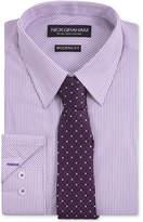 Nick Graham Men's Fitted Purple Stripe Dress Shirt