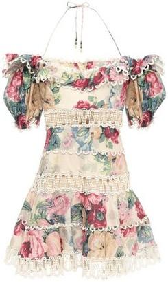 Zimmermann Cutout Floral-print Linen And Cotton-blend Halterneck Mini Dress