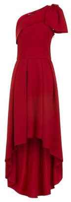 Dorothy Perkins Womens Chi Chi London Red Bow Detail Dip Hem Maxi Dress, Red