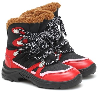 Stella McCartney Kids Faux fur-trimmed hiking boots