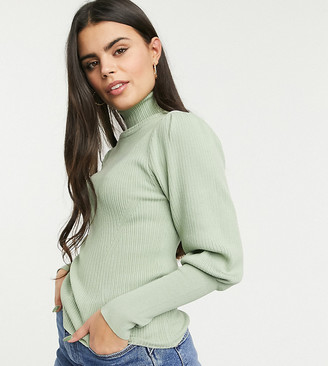 ASOS DESIGN Petite ribbed sweater with high neck in sage