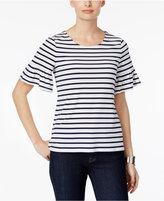 Charter Club Petite Striped Flutter-Sleeve Top, Only at Macy's