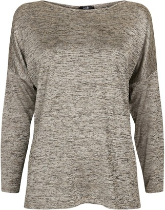Wallis Grey Shine Relaxed Fit Top