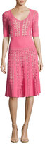 Michael Kors Hand-Crochet Half-Sleeve Dress, Pink