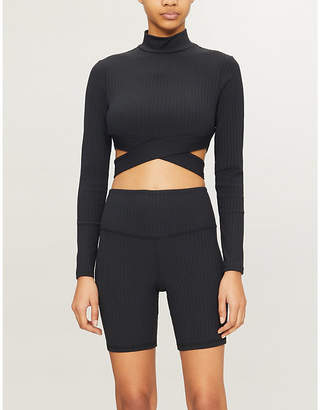 Michi Reflex cropped stretch-jersey top