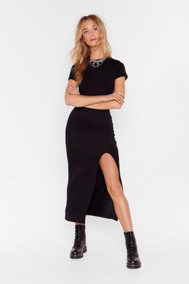 Nasty Gal Womens Maxed Out Slit Jersey Dress - Black - 4