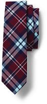 Classic Boys Woven Plaid Tie-Burgundy Plaid