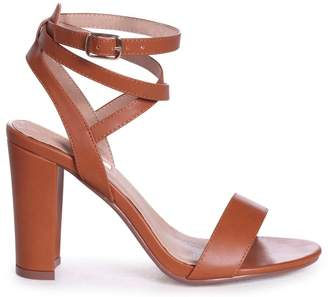Linzi Danni Tan Nappa Block Heeled Sandals With Cross Over Ankle Straps