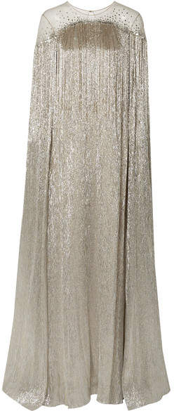 Oscar de la Renta Cape-effect Fringed Embellished Tulle And Silk-blend Lamé Gown - Silver