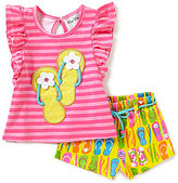 Rare Editions Baby Girls 12-24 Months Flip-Flop-Appliqued Striped Top & Flip-Flop-Printed Shorts