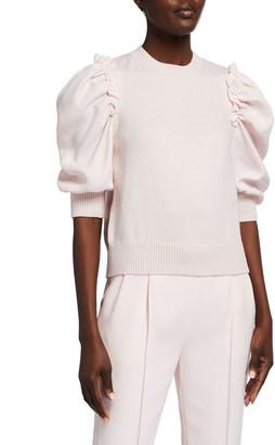 ADEAM Tulip Puff-Sleeve Sweater