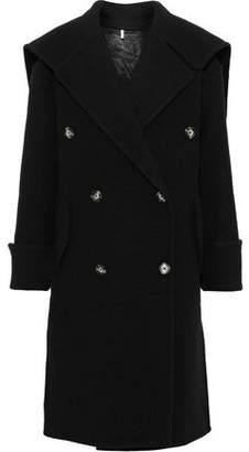 Helmut Lang Leather-trimmed Brushed Wool Coat