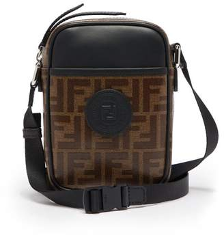 Fendi Ff Cross Body Leather And Canvas Camera Bag - Mens - Brown