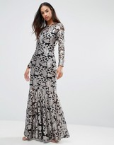 Club L Brocade Sequin Fishtail Maxi Dress With Long Sleeves