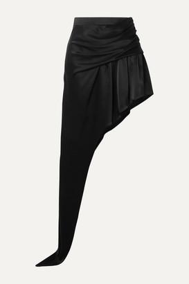 Alexander Wang Asymmetric Draped Satin Mini Skirt - Black