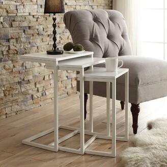 Laurel Foundry Modern Farmhouse Vikki 3 Piece Nesting Tables Color: White / White Metal