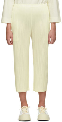 Pleats Please Issey Miyake Online Exclusive White Pleated Wide-Leg Trousers