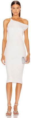 Mason by Michelle Mason Asymmetrical Rib Dress in Ivory   FWRD
