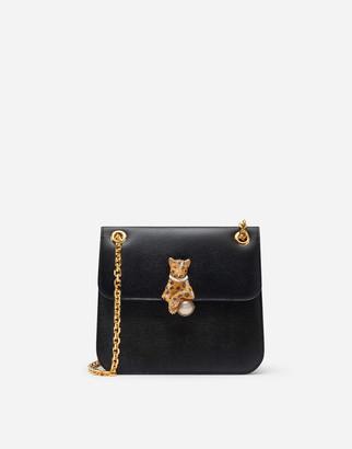 Dolce & Gabbana Medium Jungle Bag In Calfskin With Bejeweled Closure