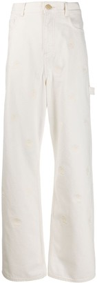 Tommy Hilfiger Crest-Embroidered Wide Leg Jeans