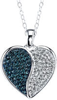 Yin & Yang CRYSTAL SOPHISTICATION Crystal Sophistication Blue & Clear Crystal-Accent Yin-Yang Heart Pendant Necklace