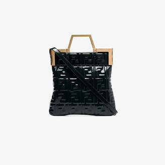 Fendi green FF embossed patent leather tote bag