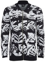 Mcq Alexander Mcqueen Zip Through Hand Jacquard Knitted Cardigan Black/white