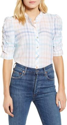 Wit & Wisdom Windowpane Check Puff Sleeve Linen & Cotton Blouse