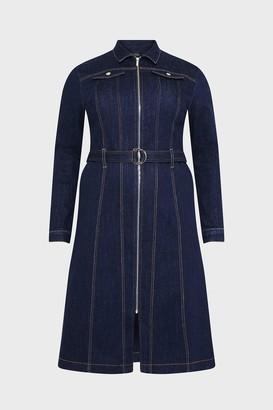 Karen Millen Curve Long Sleeve Denim Zip Front Dress