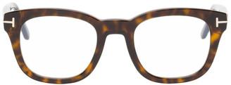 Tom Ford Tortoiseshell Blue Block Soft Square Glasses