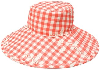 Courreges Gingham Checked Sun Hat