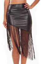 Red Dot Boutique 843 - Fun Asymmetric Fringe Tassels Faux Leather Mini Skirt