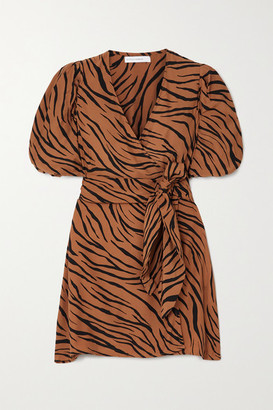 Faithfull The Brand + Net Sustain Marissa Printed Crepe Wrap Mini Dress - Brown