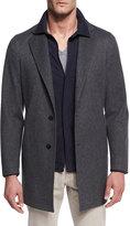 Loro Piana Parkway Tweed Overcoat, Gray